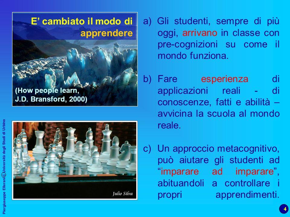 5 Piergiuseppe Ellerani C Università degli Studi di Urbino Gli studenti non ricevono e non elaborano passivamente le informazioni: sono partecipanti attivi nel processo di apprendimento (P.I.S.A, 2001) (How people learn, J.D.