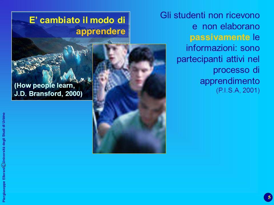 5 Piergiuseppe Ellerani C Università degli Studi di Urbino Gli studenti non ricevono e non elaborano passivamente le informazioni: sono partecipanti a