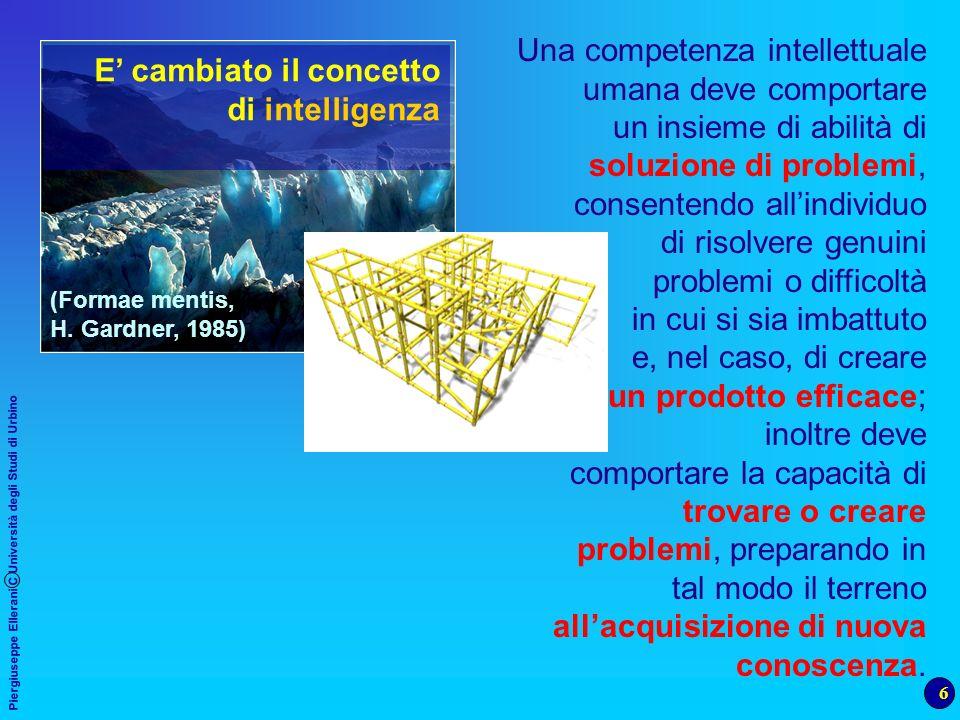 6 Piergiuseppe Ellerani C Università degli Studi di Urbino Una competenza intellettuale umana deve comportare un insieme di abilità di soluzione di pr