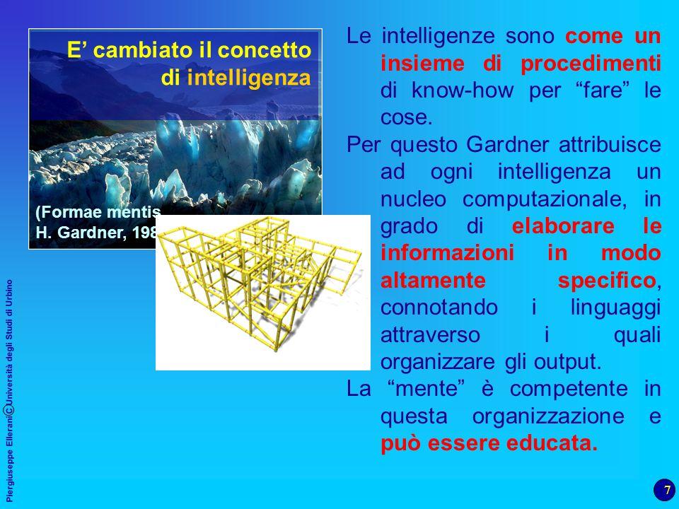 7 Piergiuseppe Ellerani C Università degli Studi di Urbino (Formae mentis, H. Gardner, 1985) E cambiato il concetto di intelligenza Le intelligenze so