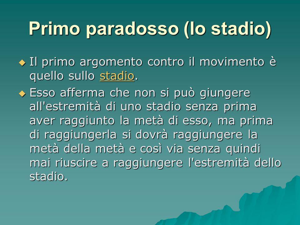 Primo paradosso (lo stadio) Il primo argomento contro il movimento è quello sullo stadio. Il primo argomento contro il movimento è quello sullo stadio