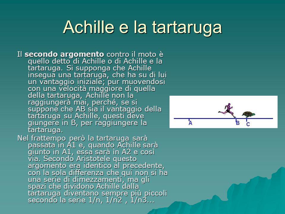 Achille e la tartaruga Il secondo argomento contro il moto è quello detto di Achille o di Achille e la tartaruga. Si supponga che Achille insegua una