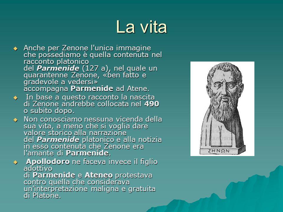 La vita Anche per Zenone l'unica immagine che possediamo è quella contenuta nel racconto platonico del Parmenide (127 a), nel quale un quarantenne Zen