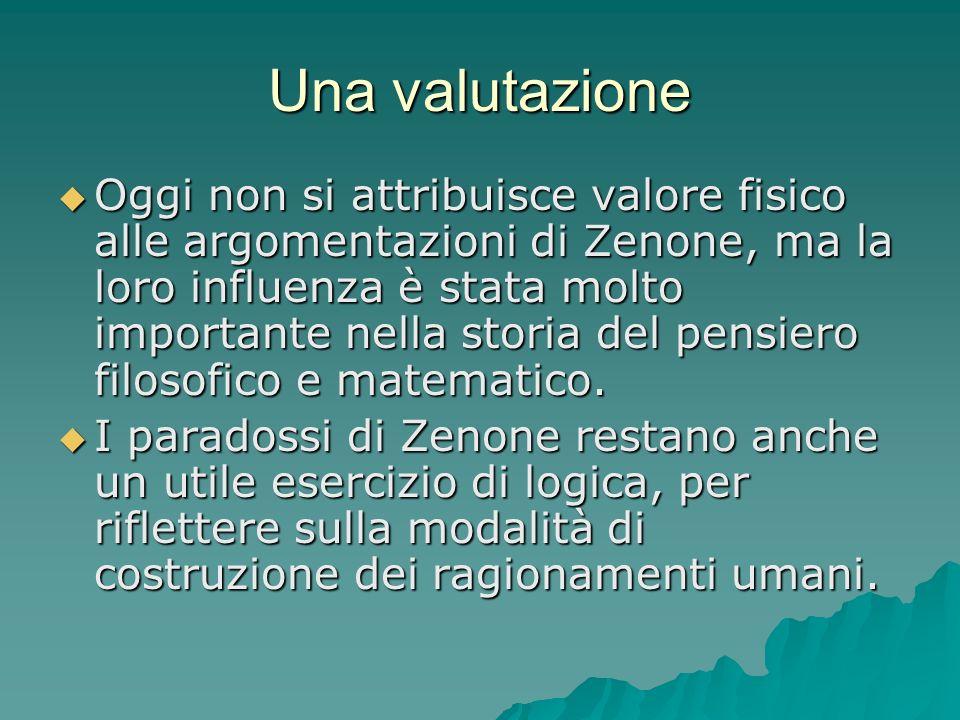 Una valutazione Oggi non si attribuisce valore fisico alle argomentazioni di Zenone, ma la loro influenza è stata molto importante nella storia del pe