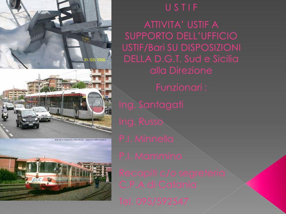 U S T I F ATTIVITA USTIF A SUPPORTO DELLUFFICIO USTIF/Bari SU DISPOSIZIONI DELLA D.G.T.