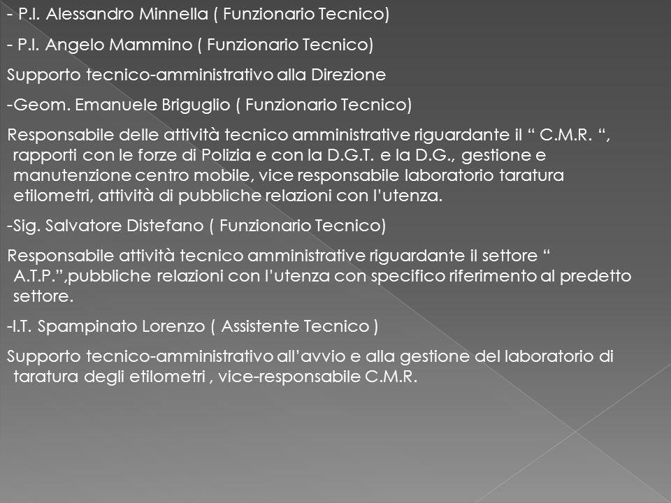 - P.I. Alessandro Minnella ( Funzionario Tecnico) - P.I. Angelo Mammino ( Funzionario Tecnico) Supporto tecnico-amministrativo alla Direzione -Geom. E