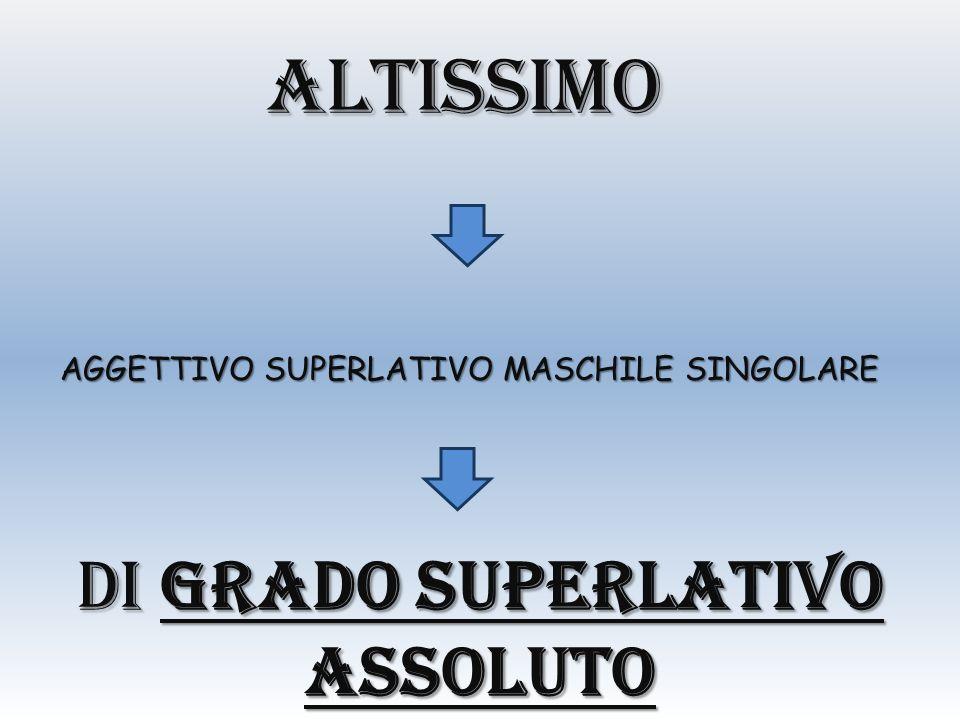 altissimo AGGETTIVO SUPERLATIVO MASCHILE SINGOLARE DI GRADO SUPERLATIVO ASSOLUTO
