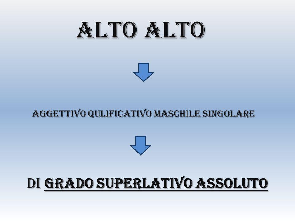 ALTO ALTO AGGETTIVO QULIFICATIVO MASCHILE SINGOLARE DI GRADO SUPERLATIVO ASSOLUTO