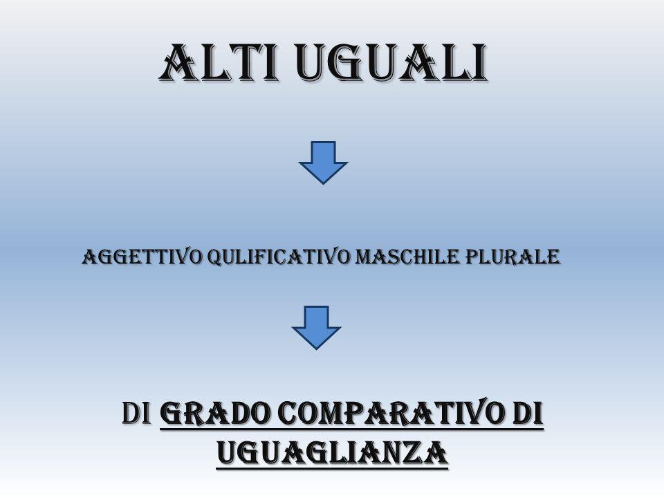 ALTI UGUALI AGGETTIVO QULIFICATIVO MASCHILE PLURALE DI GRADO COMPARATIVO DI UGUAGLIANZA