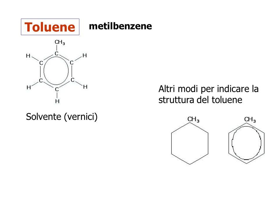 Toluene metilbenzene Solvente (vernici) Altri modi per indicare la struttura del toluene