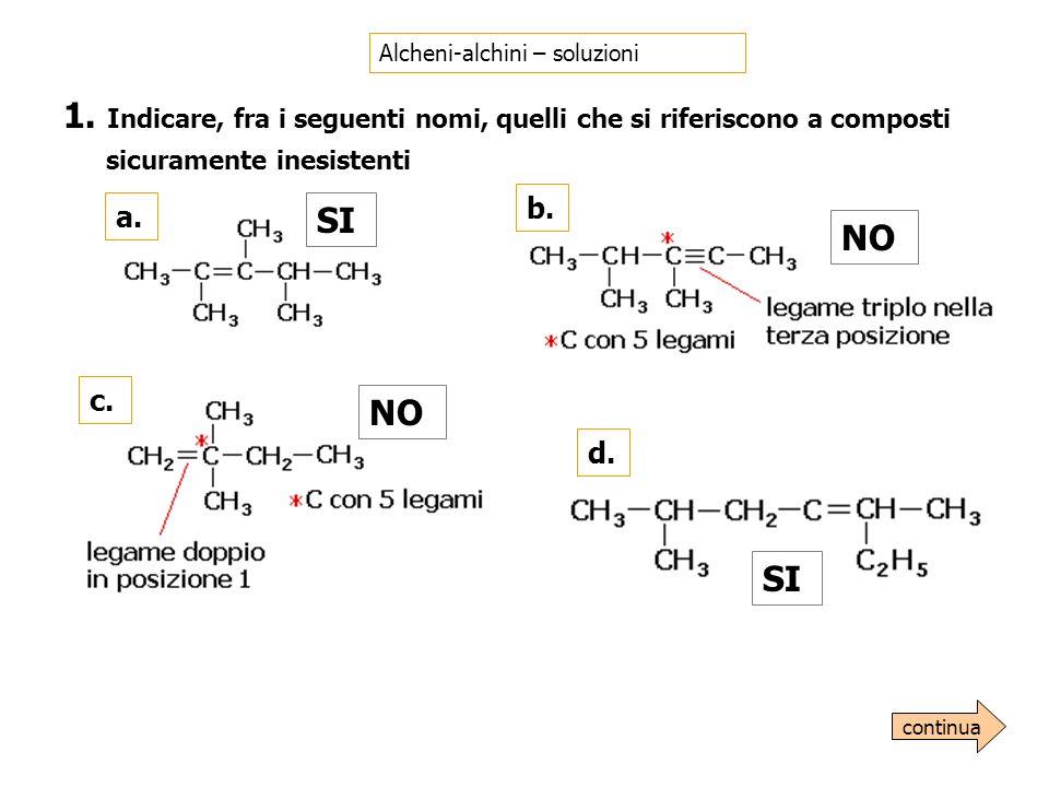 Alcheni-alchini – soluzioni 1. Indicare, fra i seguenti nomi, quelli che si riferiscono a composti sicuramente inesistenti a. SI b. NO c. NO d. SI con
