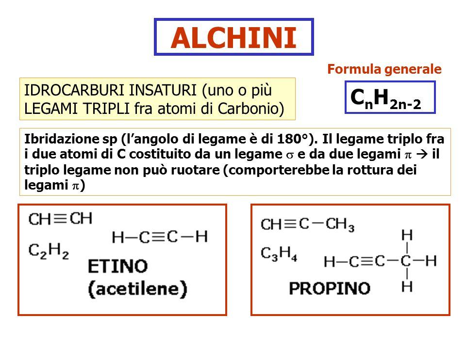 ALCHINI IDROCARBURI INSATURI (uno o più LEGAMI TRIPLI fra atomi di Carbonio) Ibridazione sp (langolo di legame è di 180°). Il legame triplo fra i due