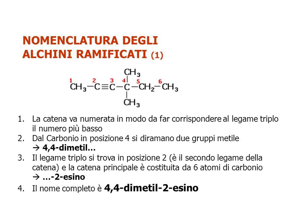 NOMENCLATURA DEGLI ALCHENI RAMIFICATI (2) 1.La catena va numerata in modo da far corrispondere al legame triplo il numero più basso 2.Dal Carbonio in posizione 2 si diramano due gruppi metile e da quello in posizione 6 un gruppo metile 2,2,6-trimetil… 3.Il legame triplo si trova in posizione 3 (è il terzo legame della catena) e la catena principale è costituita da 7 atomi di carbonio …-3-eptino 4.Il nome completo è 2,2,6-trimetil-3-eptino