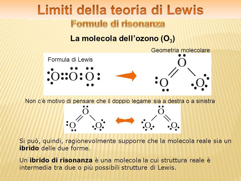 2.Gli ibridi di risonanza La molecola dellozono (O 3 ) Formula di Lewis Geometria molecolare Non cè motivo di pensare che il doppio legame sia a destr