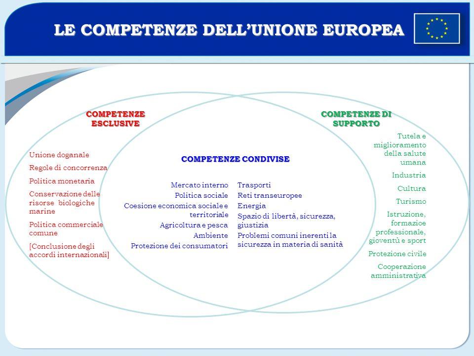 Unione doganale Regole di concorrenza Politica monetaria Conservazione delle risorse biologiche marine Politica commerciale comune [Conclusione degli