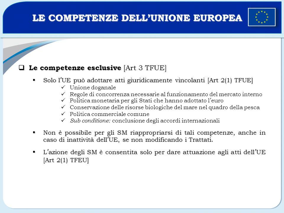 Le competenze esclusive [Art 3 TFUE] Le competenze esclusive [Art 3 TFUE] Solo lUE può adottare atti giuridicamente vincolanti [Art 2(1) TFUE] Solo lU