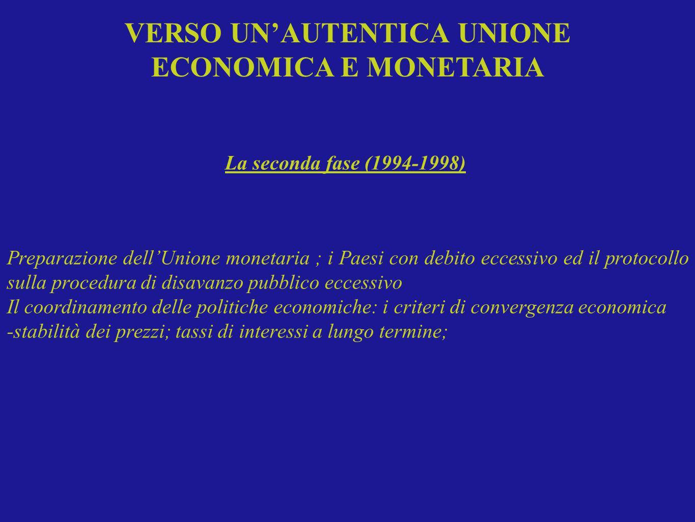 Preparazione dellUnione monetaria ; i Paesi con debito eccessivo ed il protocollo sulla procedura di disavanzo pubblico eccessivo Il coordinamento del