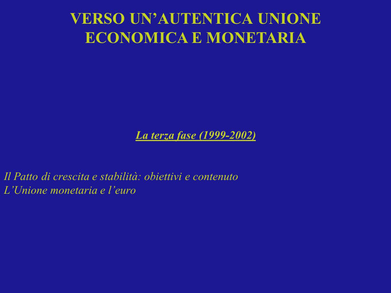 La terza fase (1999-2002) Il Patto di crescita e stabilità: obiettivi e contenuto LUnione monetaria e leuro VERSO UNAUTENTICA UNIONE ECONOMICA E MONET