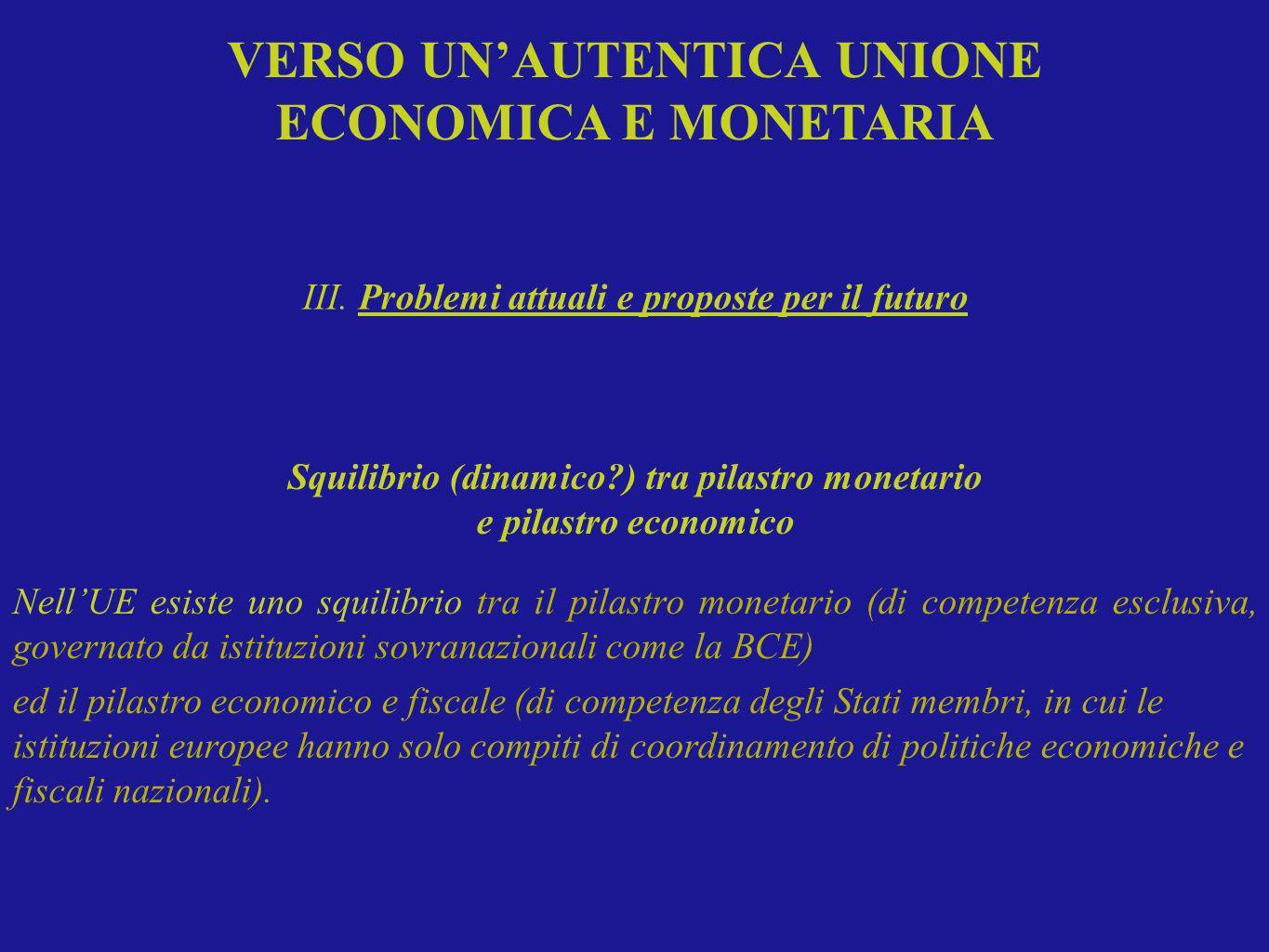 Squilibrio (dinamico?) tra pilastro monetario e pilastro economico NellUE esiste uno squilibrio tra il pilastro monetario (di competenza esclusiva, go