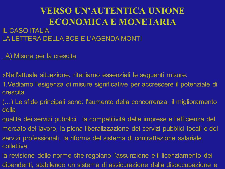 IL CASO ITALIA: LA LETTERA DELLA BCE E LAGENDA MONTI A) Misure per la crescita «Nell'attuale situazione, riteniamo essenziali le seguenti misure: 1.Ve