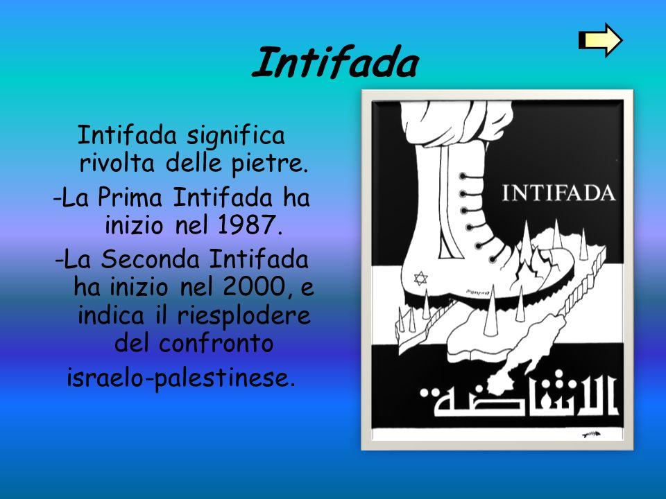 Intifada Intifada significa rivolta delle pietre.-La Prima Intifada ha inizio nel 1987.