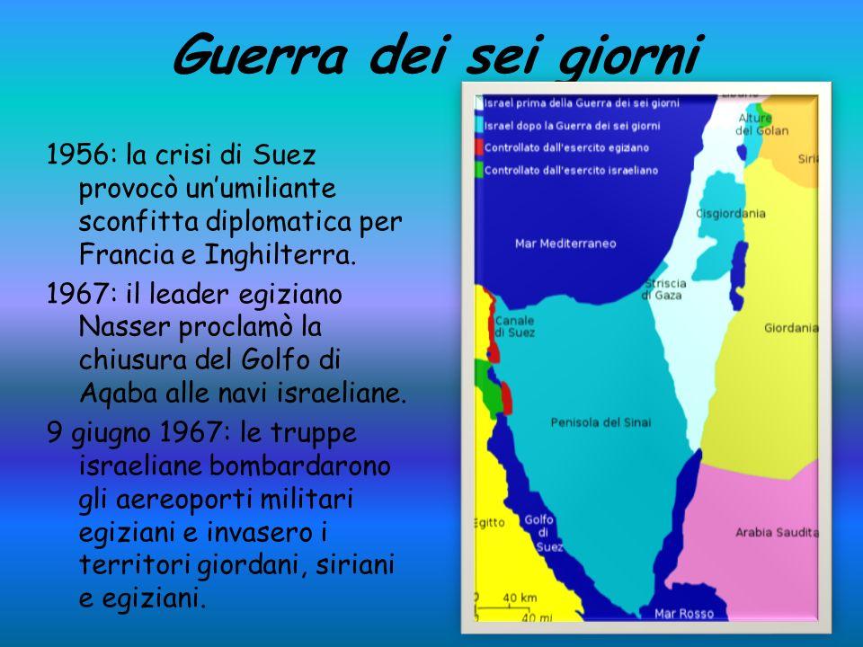 Guerra dei sei giorni 1956: la crisi di Suez provocò unumiliante sconfitta diplomatica per Francia e Inghilterra.