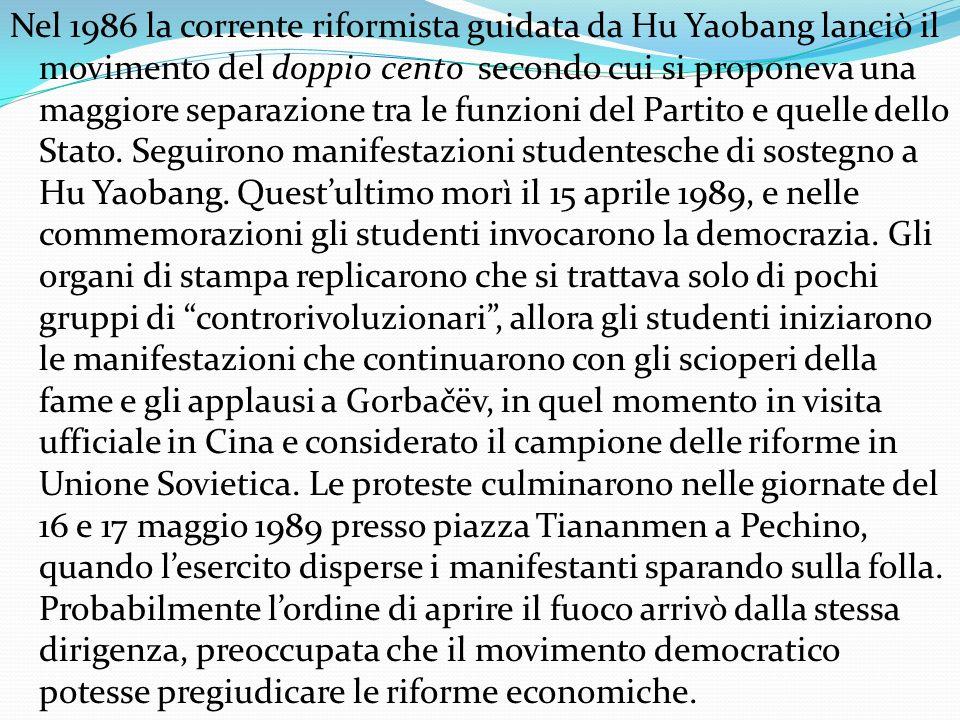 Nel 1986 la corrente riformista guidata da Hu Yaobang lanciò il movimento del doppio cento secondo cui si proponeva una maggiore separazione tra le fu