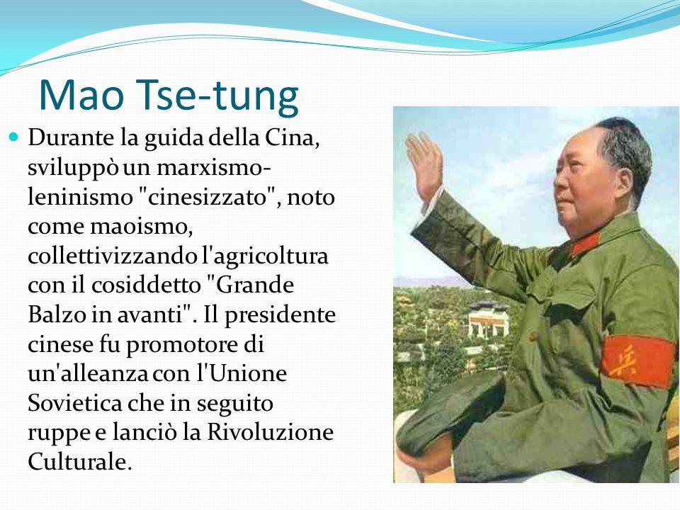 Mao Tse-tung A Mao vengono attribuiti: la creazione di una Cina unificata e libera dalla dominazione straniera, l invasione del Tibet, l uso sistematico della repressione e dei lavori forzati, lo sterminio di milioni di contadini nella riforma agraria del 1951, la carestia del 1958-1961 e la violenza della Rivoluzione Culturale.