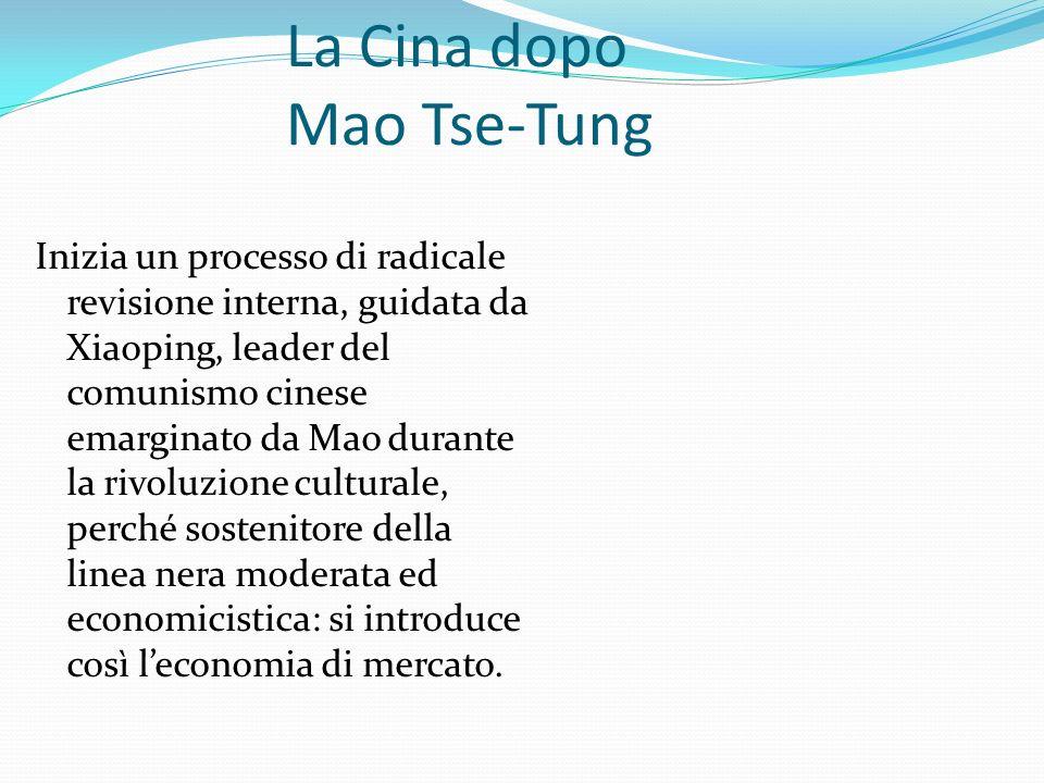 La Cina dopo Mao Tse-Tung Inizia un processo di radicale revisione interna, guidata da Xiaoping, leader del comunismo cinese emarginato da Mao durante