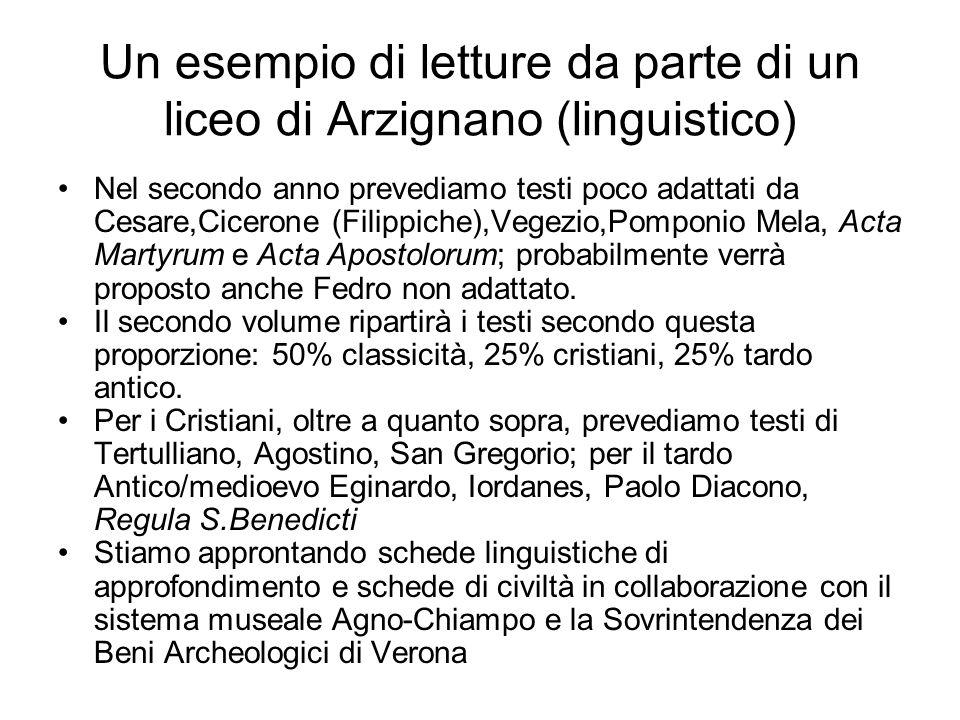 Un esempio di letture da parte di un liceo di Arzignano (linguistico) Nel secondo anno prevediamo testi poco adattati da Cesare,Cicerone (Filippiche),