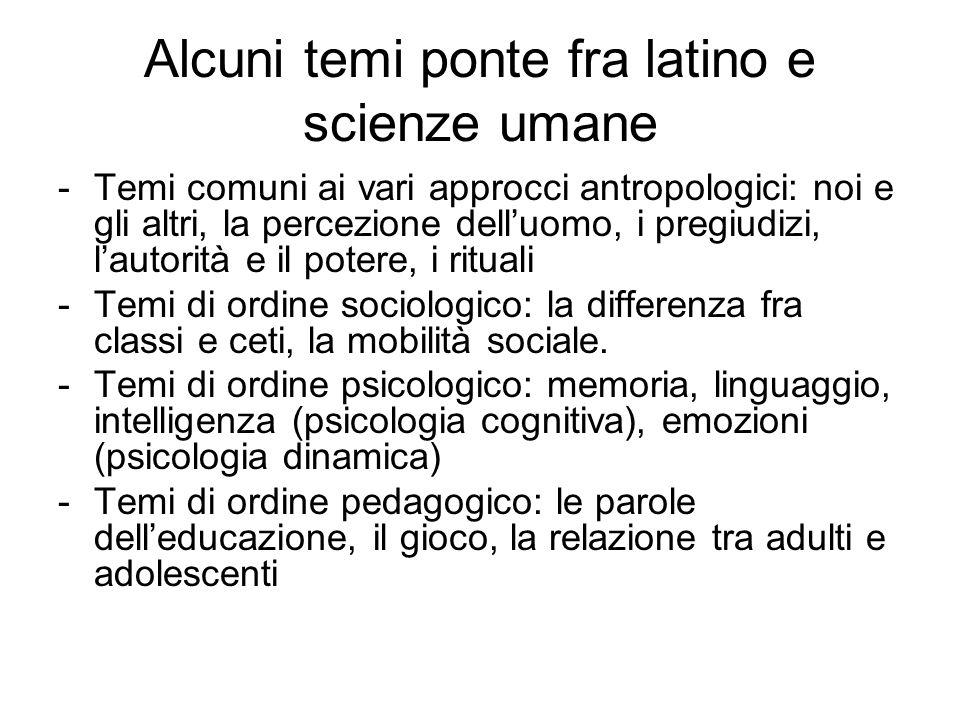 Alcuni temi ponte fra latino e scienze umane -Temi comuni ai vari approcci antropologici: noi e gli altri, la percezione delluomo, i pregiudizi, lauto