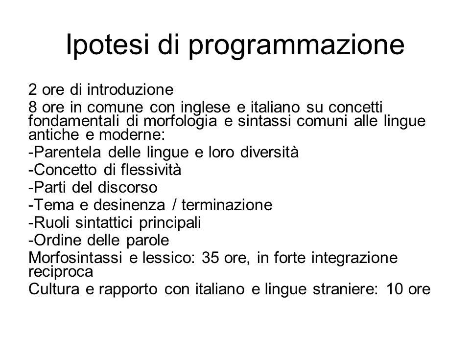 Ipotesi di programmazione 2 ore di introduzione 8 ore in comune con inglese e italiano su concetti fondamentali di morfologia e sintassi comuni alle l