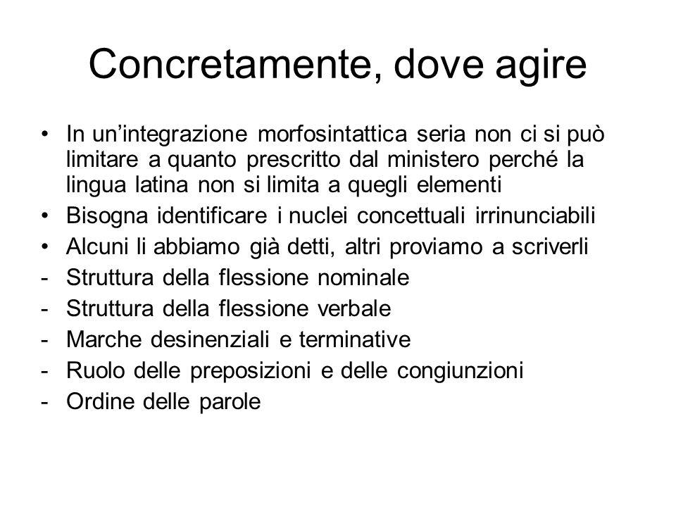 Concretamente, dove agire In unintegrazione morfosintattica seria non ci si può limitare a quanto prescritto dal ministero perché la lingua latina non