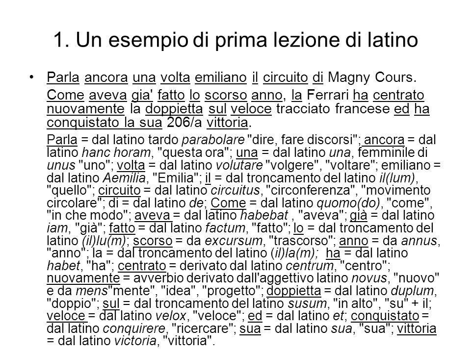 1. Un esempio di prima lezione di latino Parla ancora una volta emiliano il circuito di Magny Cours. Come aveva gia' fatto lo scorso anno, la Ferrari
