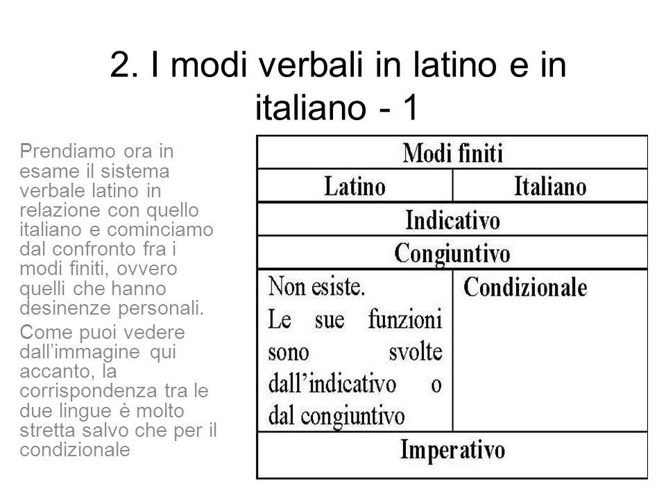 2. I modi verbali in latino e in italiano - 1 Prendiamo ora in esame il sistema verbale latino in relazione con quello italiano e cominciamo dal confr