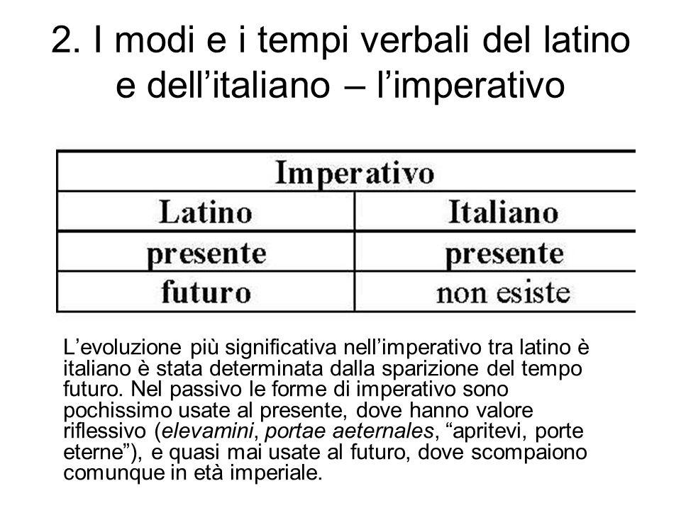 2. I modi e i tempi verbali del latino e dellitaliano – limperativo Levoluzione più significativa nellimperativo tra latino è italiano è stata determi
