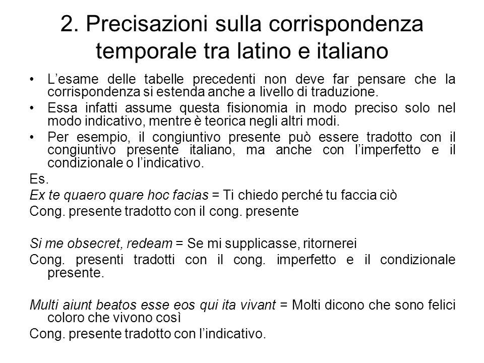2. Precisazioni sulla corrispondenza temporale tra latino e italiano Lesame delle tabelle precedenti non deve far pensare che la corrispondenza si est