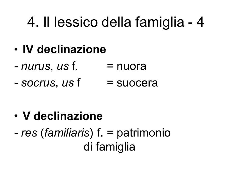 4. Il lessico della famiglia - 4 IV declinazione - nurus, us f.= nuora - socrus, us f= suocera V declinazione - res (familiaris) f.= patrimonio di fam