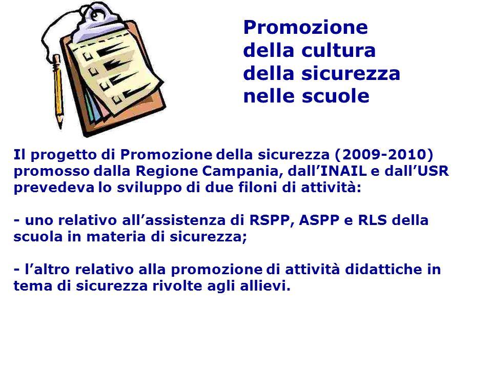 Promozione della cultura della sicurezza nelle scuole Il progetto di Promozione della sicurezza (2009-2010) promosso dalla Regione Campania, dallINAIL