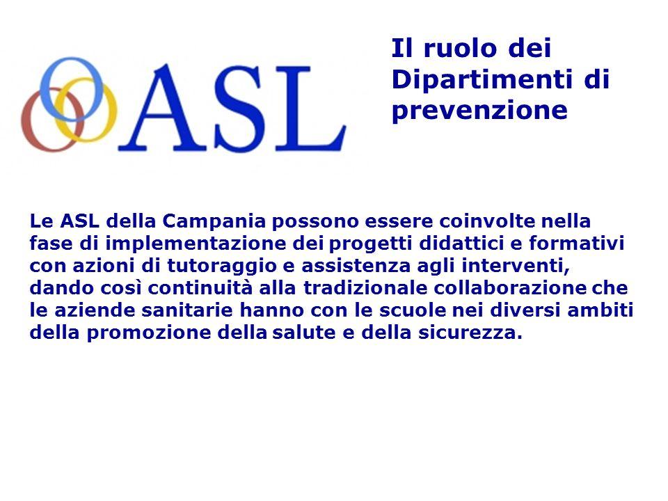 Le ASL della Campania possono essere coinvolte nella fase di implementazione dei progetti didattici e formativi con azioni di tutoraggio e assistenza