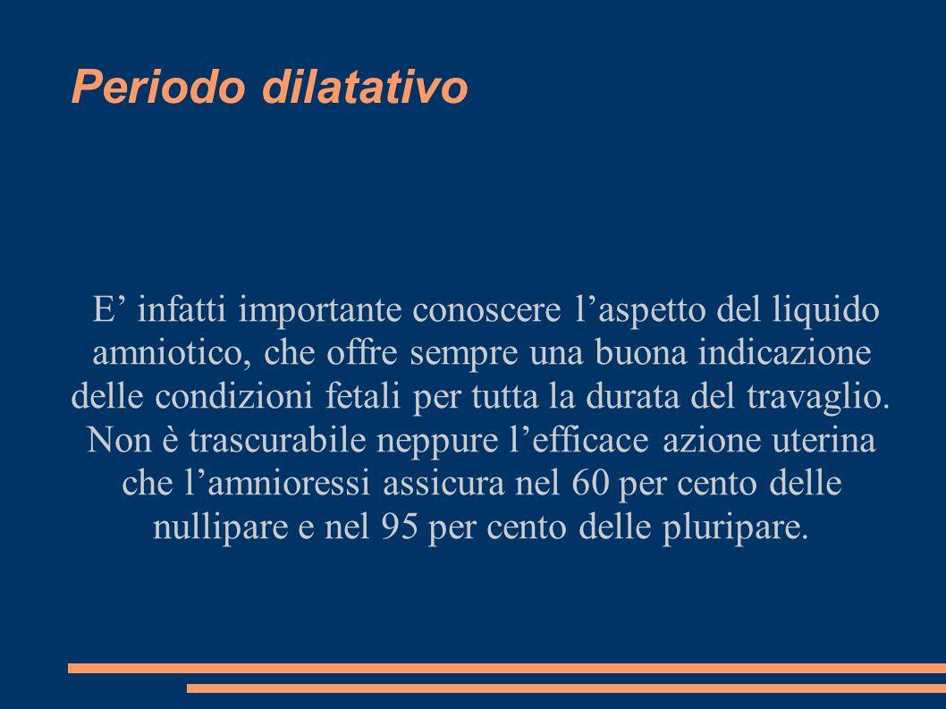 Periodo dilatativo E infatti importante conoscere laspetto del liquido amniotico, che offre sempre una buona indicazione delle condizioni fetali per tutta la durata del travaglio.
