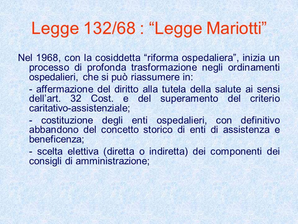 Legge 132/68 : Legge Mariotti Nel 1968, con la cosiddetta riforma ospedaliera, inizia un processo di profonda trasformazione negli ordinamenti ospedal
