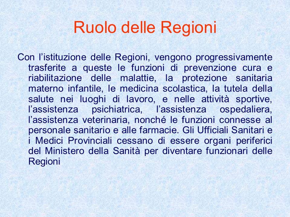 Ruolo delle Regioni Con listituzione delle Regioni, vengono progressivamente trasferite a queste le funzioni di prevenzione cura e riabilitazione dell