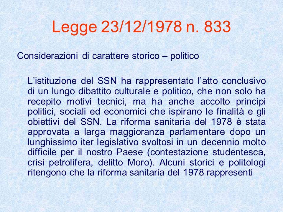 Legge 23/12/1978 n. 833 Considerazioni di carattere storico – politico Listituzione del SSN ha rappresentato latto conclusivo di un lungo dibattito cu