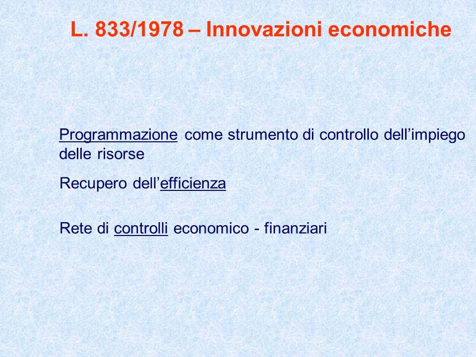 L. 833/1978 – Innovazioni economiche Programmazione come strumento di controllo dellimpiego delle risorse Recupero dellefficienza Rete di controlli ec