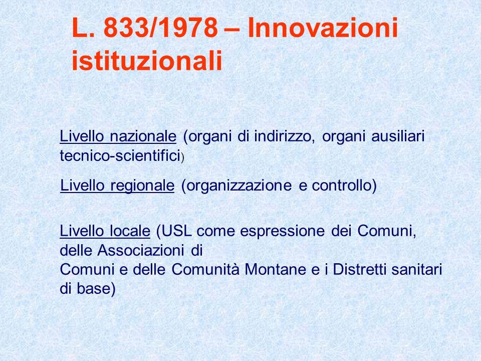 L. 833/1978 – Innovazioni istituzionali Livello nazionale (organi di indirizzo, organi ausiliari tecnico-scientifici ) Livello regionale (organizzazio