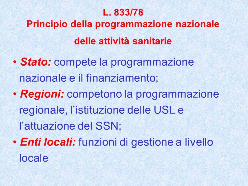 L. 833/78 Principio della programmazione nazionale delle attività sanitarie Stato: compete la programmazione nazionale e il finanziamento; Regioni: co