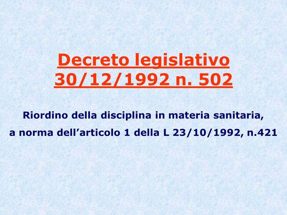 Decreto legislativo 30/12/1992 n. 502 Riordino della disciplina in materia sanitaria, a norma dellarticolo 1 della L 23/10/1992, n.421