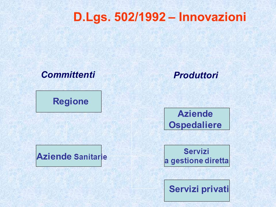 D.Lgs. 502/1992 – Innovazioni Committenti Produttori Regione Aziende Sanitarie Aziende Ospedaliere Servizi a gestione diretta Servizi privati