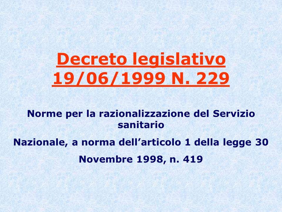 Decreto legislativo 19/06/1999 N. 229 Norme per la razionalizzazione del Servizio sanitario Nazionale, a norma dellarticolo 1 della legge 30 Novembre